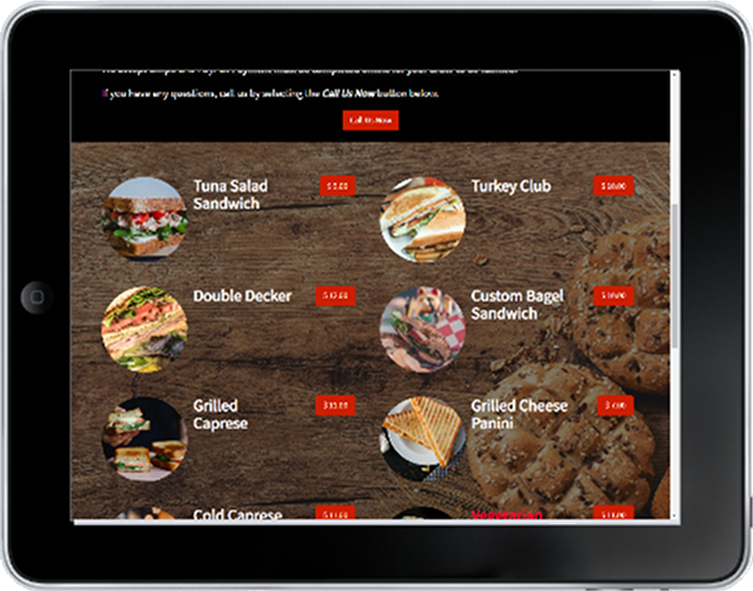 Tablet View of Sample Restaurant Site