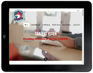 Client's Mobile-First Site on Tablet Display- TrafficVixen.com